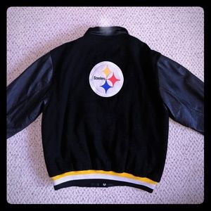 VTG Steelers Varsity Jacket Leather Wool XL NFL